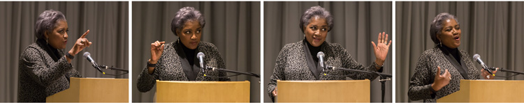 grid of 4 photos of Donna Brazile gesturing