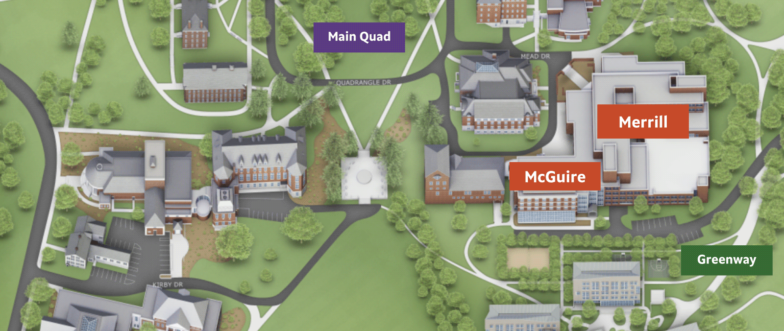 Merrill and McGuire locations shown on campus map