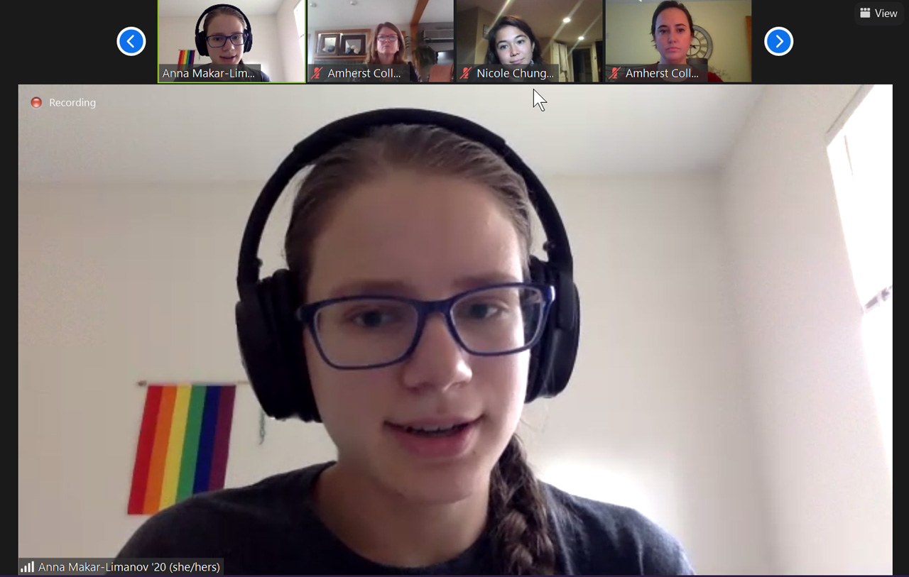 student speaks during a zoom session