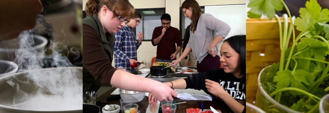 Collage of students working in Molecular Gastronomy lab.