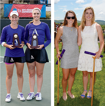 Gabby Devlin '14 and Jordan Brewer'14 side by side with trophies and at commencement