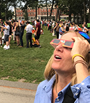 Amherst community members viewing the eclipse