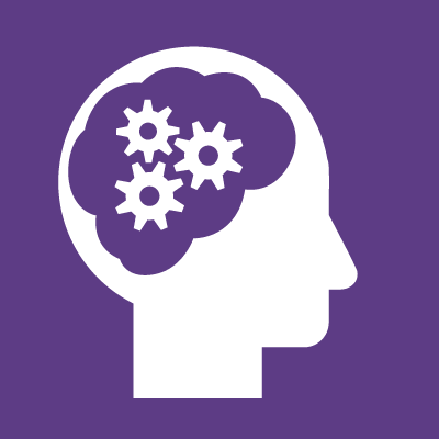 icon image of a head containing a brain with gears in it