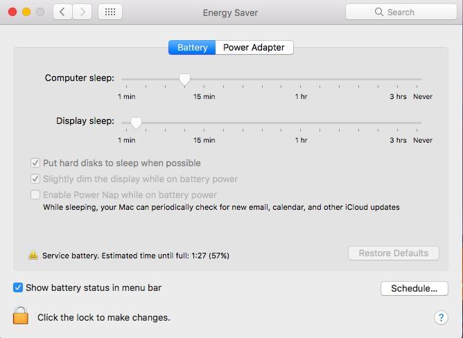 screenshot of mac os energy settings