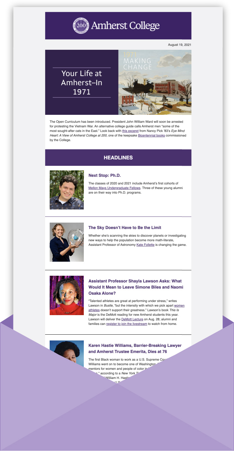screenshot of an issue of the e-News email in an envelope