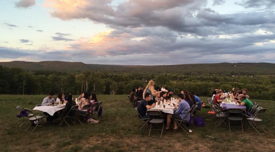 Dinner outdoors on the Book and Plow Farm