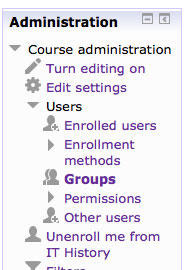 Administration block showing group link