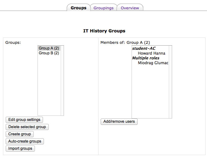 Groups interface
