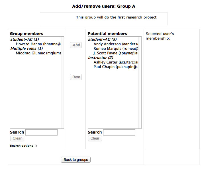 Adding student to a group.