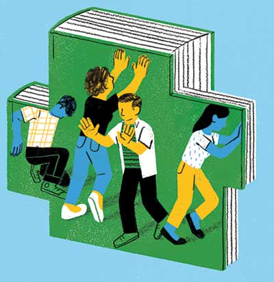 Illustration showing four people trapped inside of a book, pushing to get out