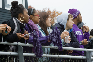 Students cheering at Homecoming game