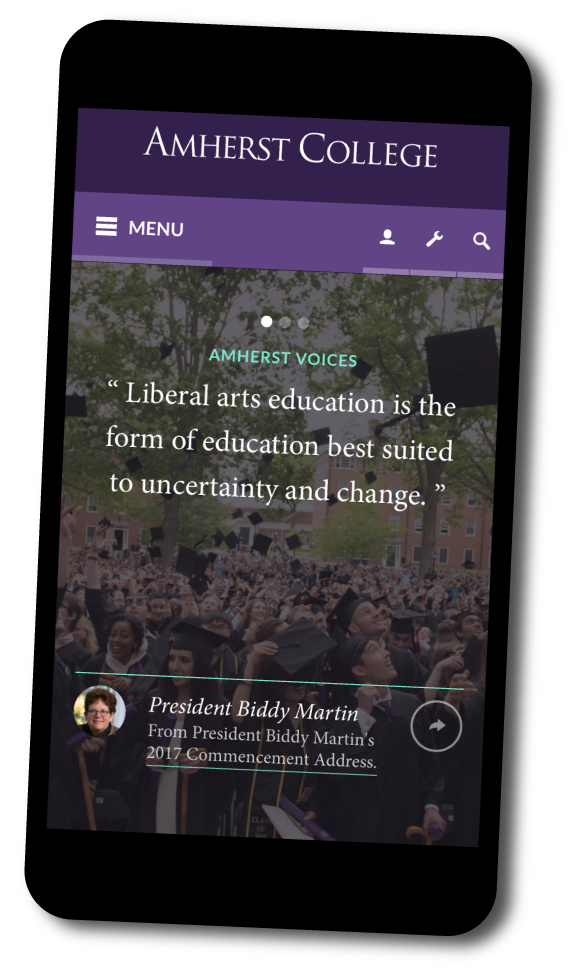 Amherst College homepage shown on a mobile phone