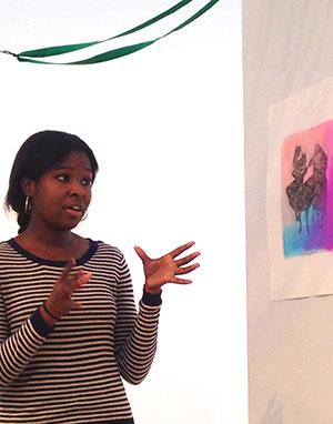 Printmaking II student