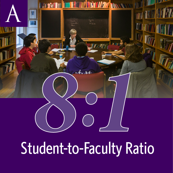 Amherst College has an 8-to-1 student-to-faculty ratio