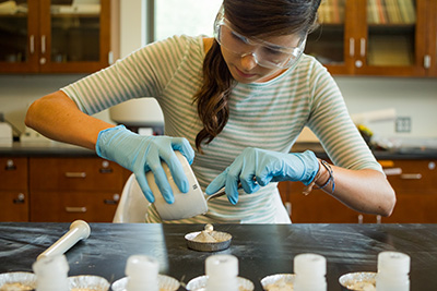 Mollie McDowell '14 in the lab