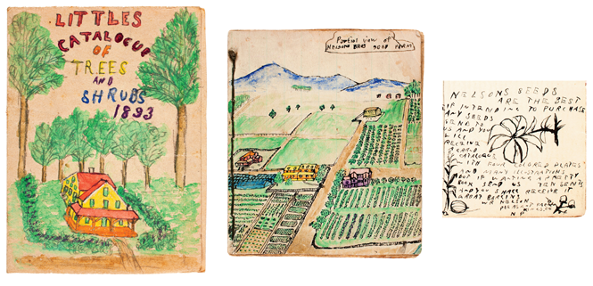 Three drawings: a seed catalog, a farm, an ad