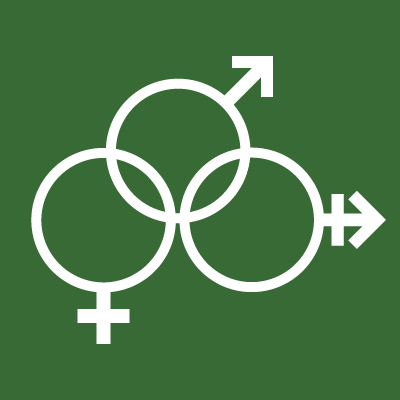 biological symbols of female, nonbinary, and male genders, all linked together
