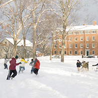 A snowball fight on the Quad