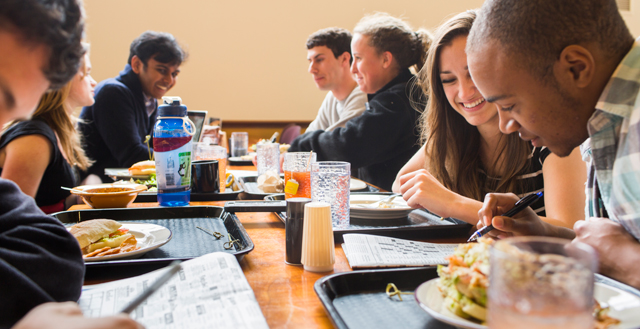 Students dining together in Valentine Hall