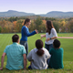 Students in front of the Mt. Holyoke Range