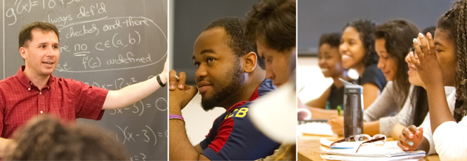 Collage of 3 photos from summer math class