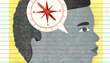 Illustration of Africa-Amherican child with compass-like speech bubble