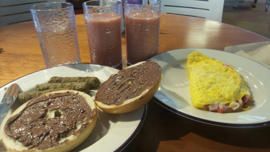 Omelet, Bagel, and Smoothie