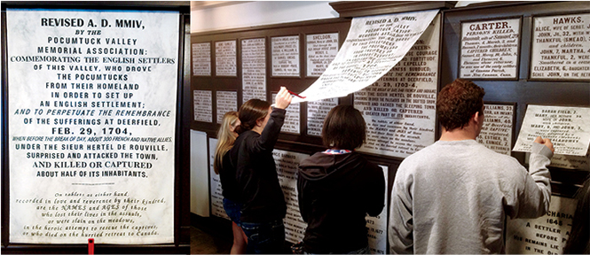 Students reading old memorials covered with modern interpretations.