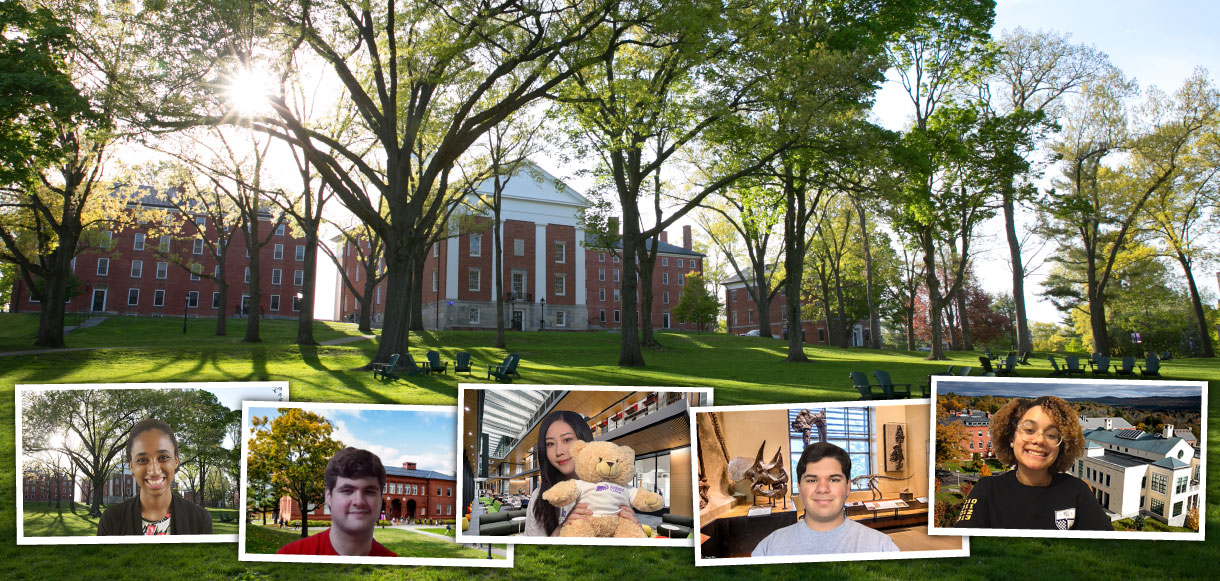 student tour guides with virtual zoom backgrounds