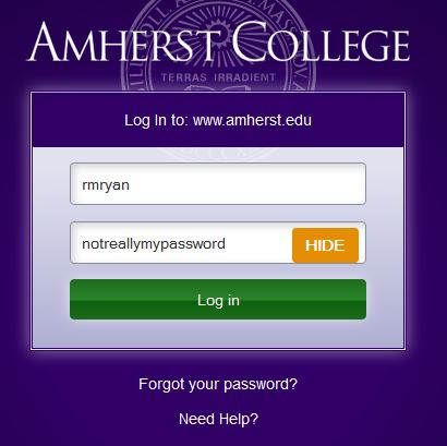 Web login page, showing a password in plain text and the Hide button