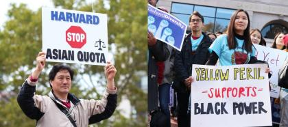 Asian Americans hold up signs in support of and against affirmative action