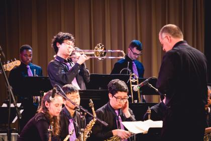 AC Jazz Ensemble musicians playing onstage