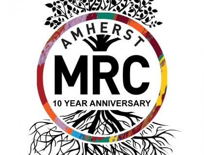 MRC Logo that reads Amherst MRC 10 Year Anniversary. image includes a tree in the backdrop