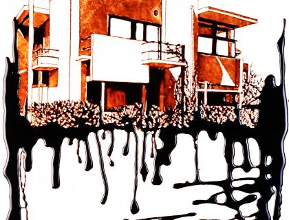 Artwork depicting a building with dark liquid dripping down underneath it
