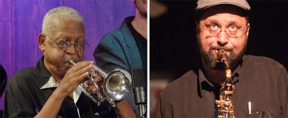 Closeup of Bobby Bradford playing the cornet, next to a closeup of Hafez Modirzadeh playing the saxophone