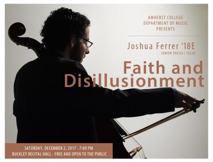 Event poster featuring a photo, shot from behind, of Ferrer playing the cello