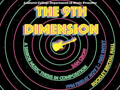Event poster showing the shape of an electric guitar surrounded by colorful concentric circles on a starry black background