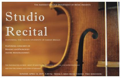 Event poster showing a closeup of part of a violin