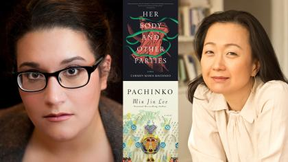 Portraits of authors and their book covers: Carmen Maria Machado (Her Body and Other Parties) and Min Jin Lee with (Pachinko)