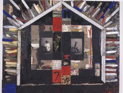 Brightly colored artwork showing the shape of a house with two black-and-white photographs of children inside