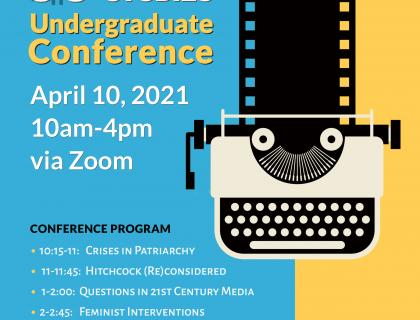 Flyer for the 5C Film & Media Studies Conference. Includes graphic of a film strip and conference programming, which you can find in the description.