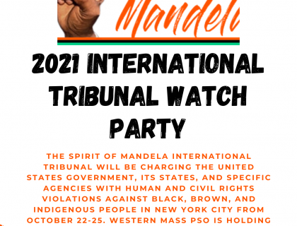 """clenched fist in the Power Salute to the left of the words """"Spirit of Mandela: 2021 International Tribunal Watch Party,"""" above event description."""