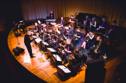 The Amherst College Jazz Ensemble on the Buckley Recital Hall stage