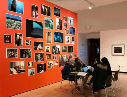 Study at the Mead, students studying in galleries