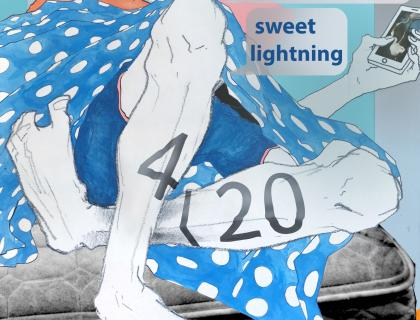 Event poster featuring a stylized illustration of a person lying on a bed and holding a smartphone