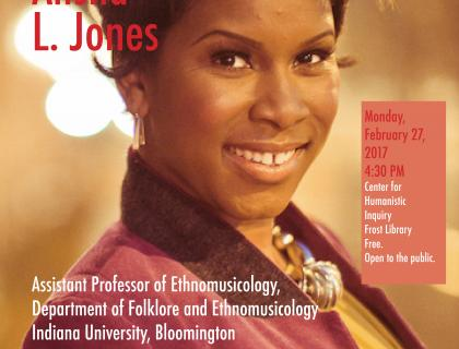 Event poster featuring a closeup of Dr. Alisha Jones smiling and wearing a purple jacket, a yellow shirt, a necklace and earrings