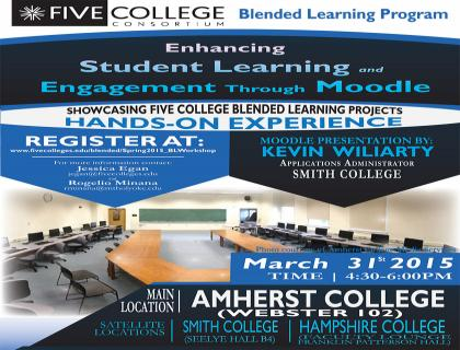 Five Colleges Blended Learning workshop poster with picture of classroom, Webster 102