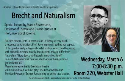 Event poster featuring headshots of Brecht and Revermann
