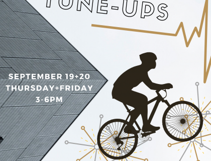 Free bike repairs and tune-ups on Thursday(19th) and Friday(20th) from 3-6pm in front of Frost Library. First come first serve!