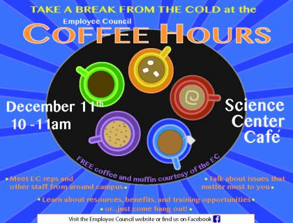 Brightly colored Employee Council Coffee Hour poster, with an illustration of five mugs in a circle